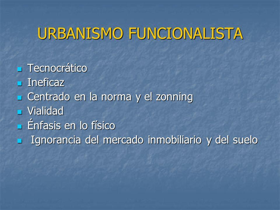 URBANISMO FUNCIONALISTA Tecnocrático Tecnocrático Ineficaz Ineficaz Centrado en la norma y el zonning Centrado en la norma y el zonning Vialidad Viali
