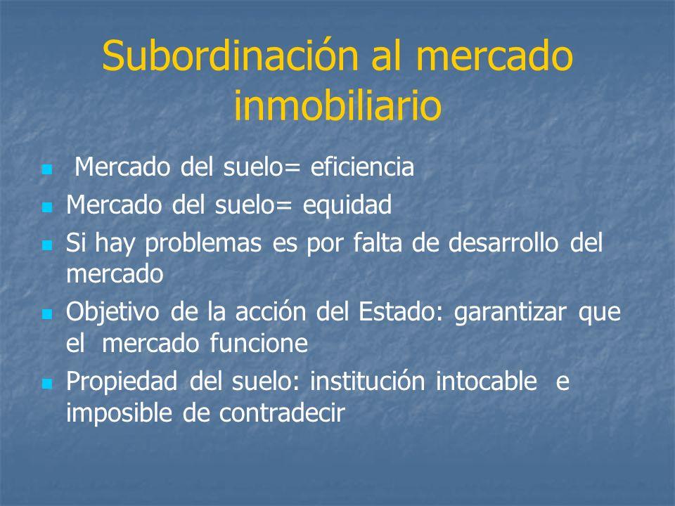 Subordinación al mercado inmobiliario Mercado del suelo= eficiencia Mercado del suelo= equidad Si hay problemas es por falta de desarrollo del mercado