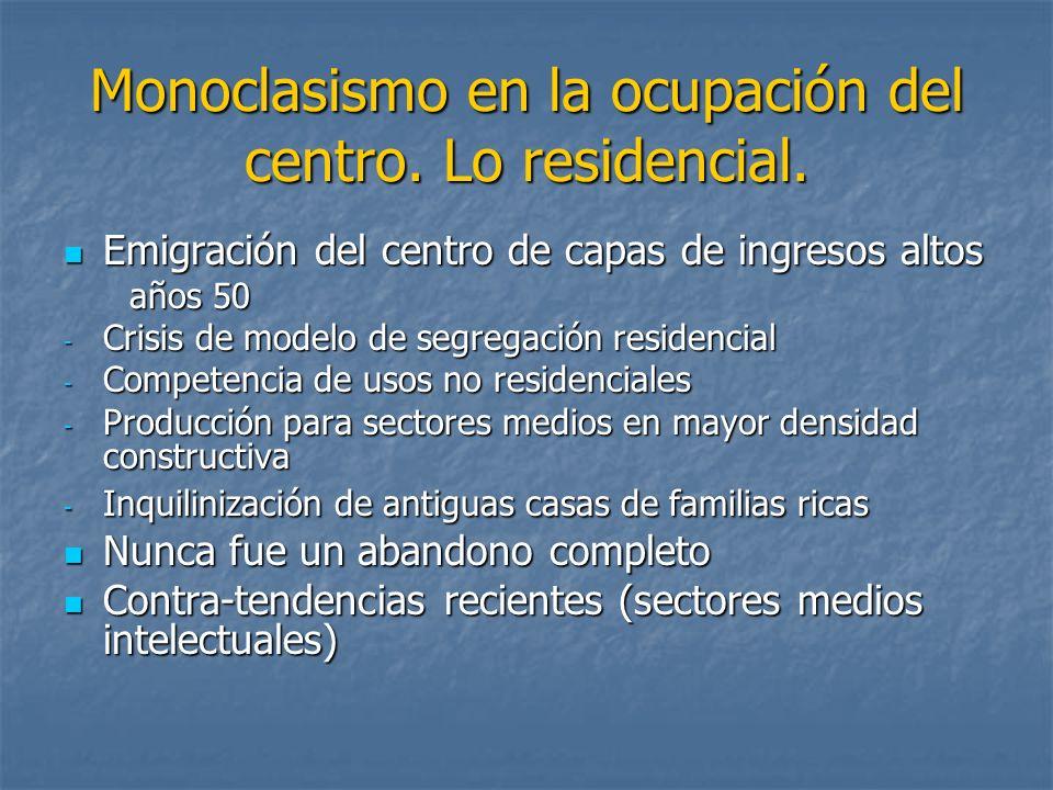 Monoclasismo en la ocupación del centro. Lo residencial. Emigración del centro de capas de ingresos altos Emigración del centro de capas de ingresos a