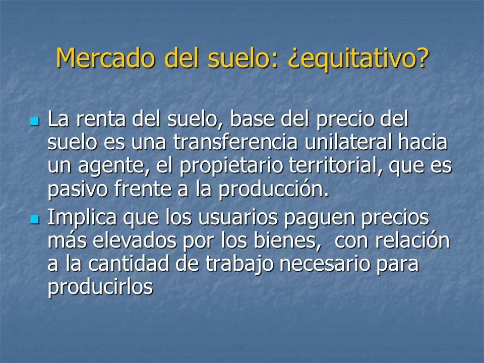 Mercado del suelo: ¿equitativo? La renta del suelo, base del precio del suelo es una transferencia unilateral hacia un agente, el propietario territor