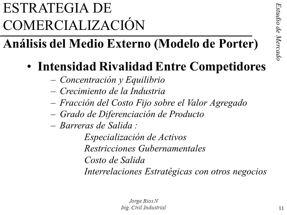 Estudio de Mercado 11 Jorge Rios N Ing. Civil Industrial ESTRATEGIA DE COMERCIALIZACIÓN Intensidad Rivalidad Entre Competidores –Concentración y Equil