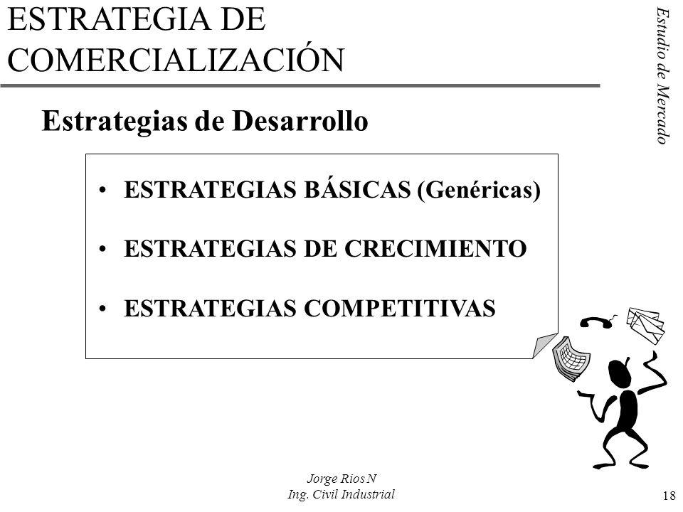 Estudio de Mercado 18 Jorge Rios N Ing. Civil Industrial Estrategias de Desarrollo ESTRATEGIAS BÁSICAS (Genéricas) ESTRATEGIAS DE CRECIMIENTO ESTRATEG