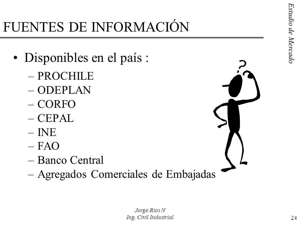 Estudio de Mercado 24 Jorge Rios N Ing. Civil Industrial FUENTES DE INFORMACIÓN Disponibles en el país : –PROCHILE –ODEPLAN –CORFO –CEPAL –INE –FAO –B