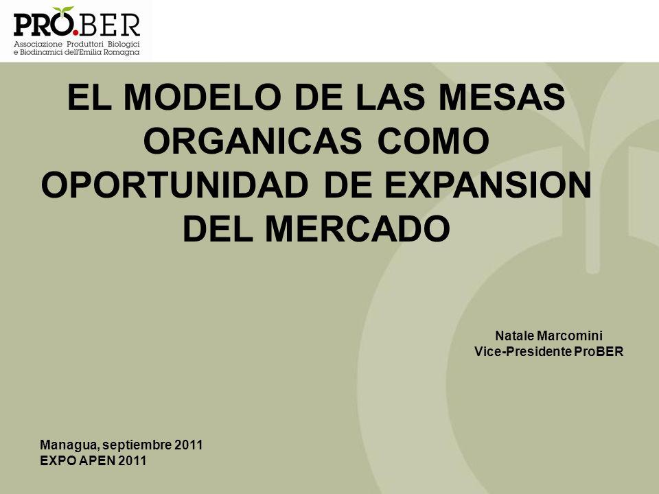 Managua, septiembre 2011 EXPO APEN 2011 EL MODELO DE LAS MESAS ORGANICAS COMO OPORTUNIDAD DE EXPANSION DEL MERCADO Natale Marcomini Vice-Presidente Pr