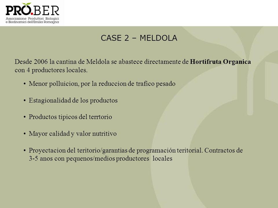CASE 2 – MELDOLA Desde 2006 la cantina de Meldola se abastece directamente de Hortifruta Organica con 4 productores locales. Menor polluicion, por la