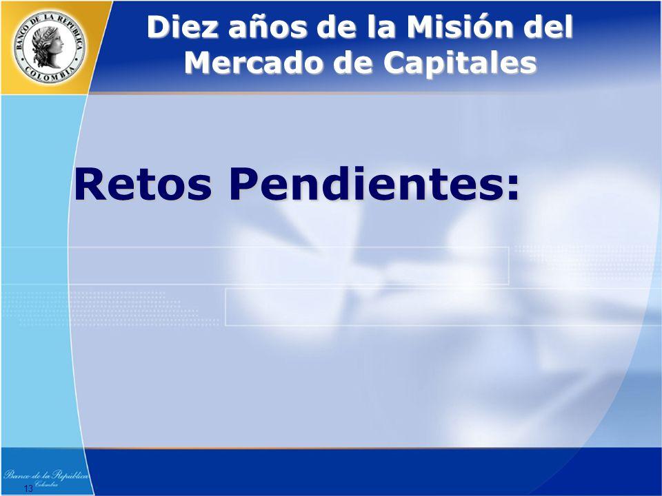 13 Diez años de la Misión del Mercado de Capitales Retos Pendientes: