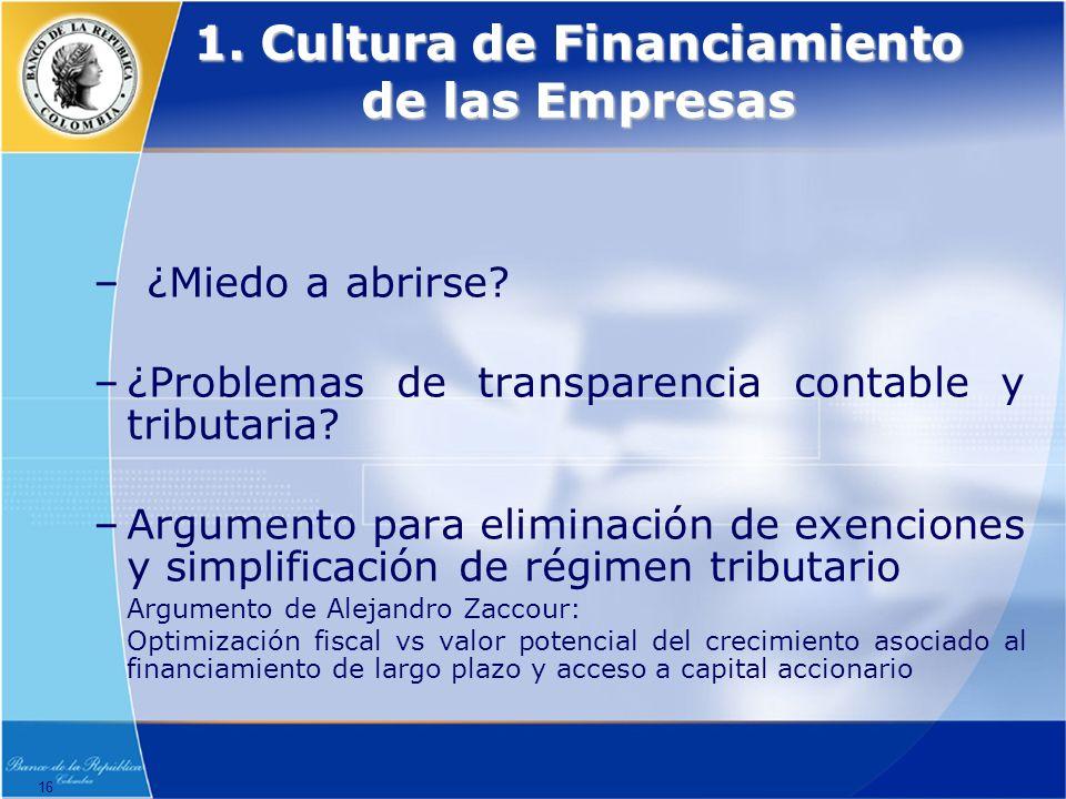 16 1.Cultura de Financiamiento de las Empresas –¿Miedo a abrirse.