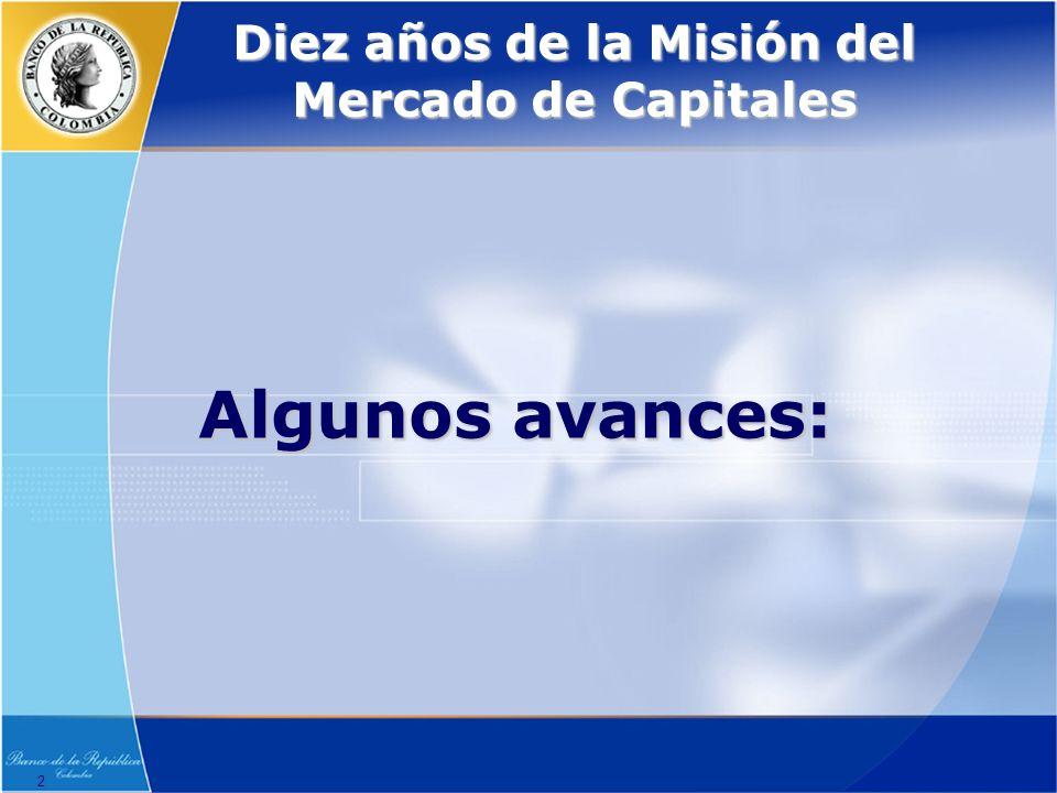 2 Diez años de la Misión del Mercado de Capitales Algunos avances:
