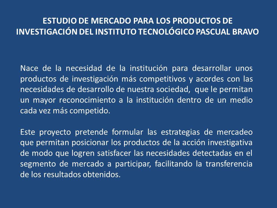 INVESTIGACIÓN DE MERCADO IDENTIFICACIÓN DE POSIBLES PRODUCTOS A DESARROLLAR POR PARTE DE LOS GRUPOS DE INVESTIGACION DEL PASCUAL BRAVO Y SEGMENTO DE MERCADO A PENETRAR TEMÁTICAS DE INVESTIGACIÓN LINEAS POSIBLES PROYECTOS De acuerdo al estudio de necesidades del sector productivo efectuado, además de las temáticas recomendadas por los expertos en las entrevistas realizadas podemos recomendar algunos posibles proyectos que tendrán alto impacto en los diferentes sectores y están justificados de acuerdo a las áreas estratégicas y necesidades del sector productivo.