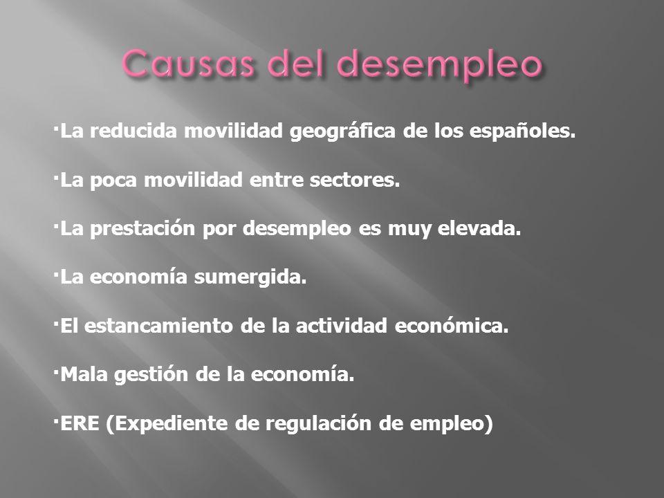 ·La reducida movilidad geográfica de los españoles. ·La poca movilidad entre sectores. ·La prestación por desempleo es muy elevada. ·La economía sumer