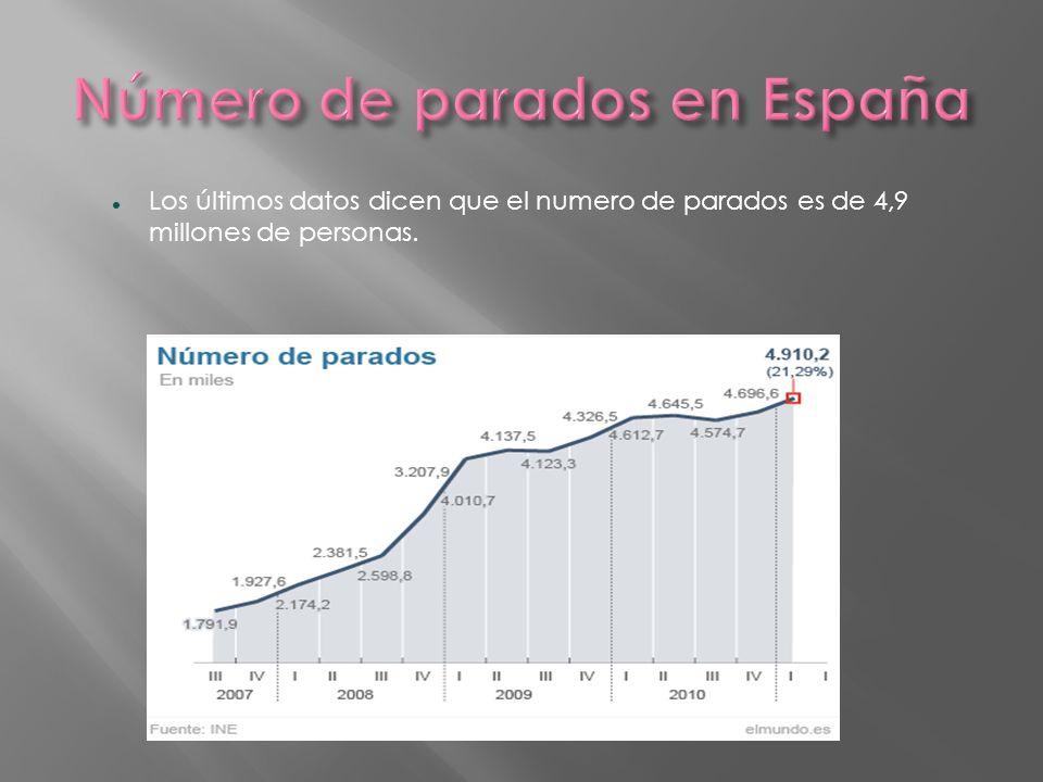 Los últimos datos dicen que el numero de parados es de 4,9 millones de personas.