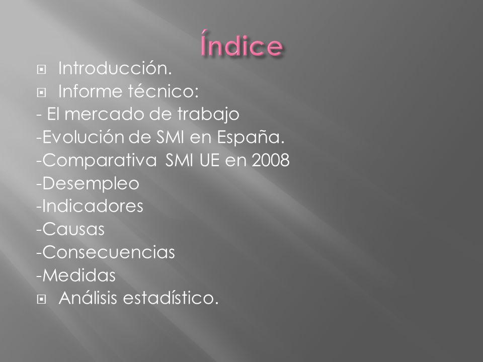 Introducción. Informe técnico: - El mercado de trabajo -Evolución de SMI en España. -Comparativa SMI UE en 2008 -Desempleo -Indicadores -Causas -Conse