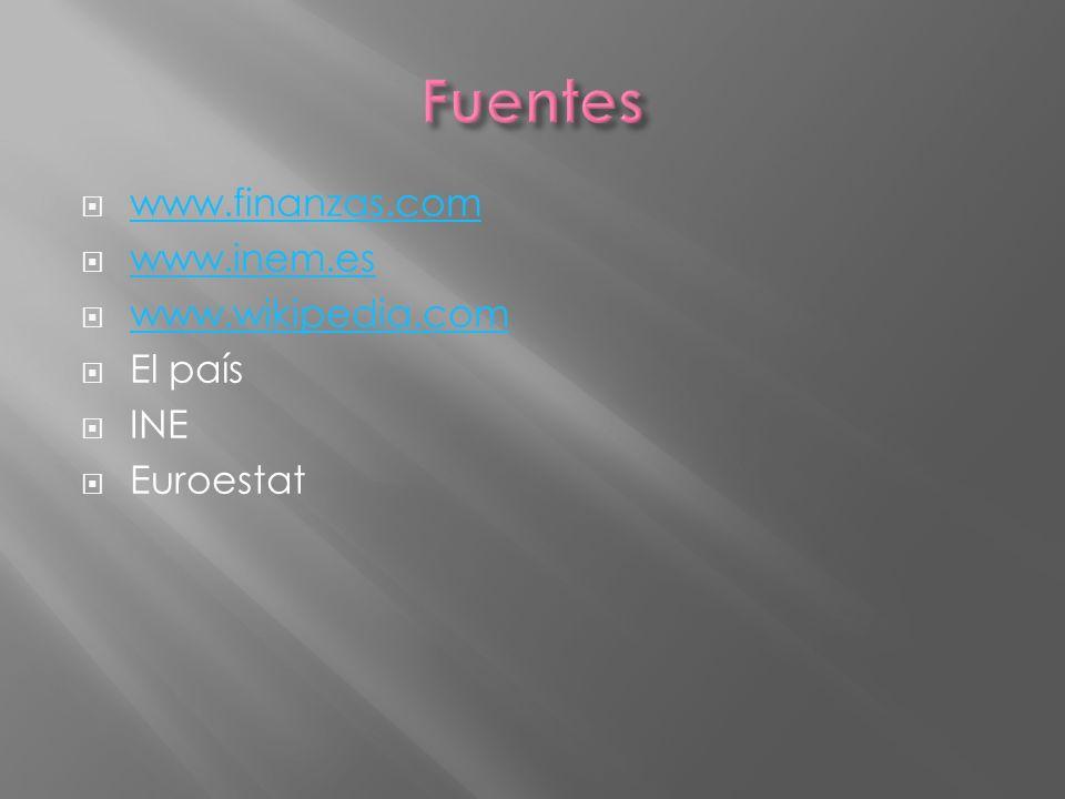 www.finanzas.com www.inem.es www.wikipedia.com El país INE Euroestat