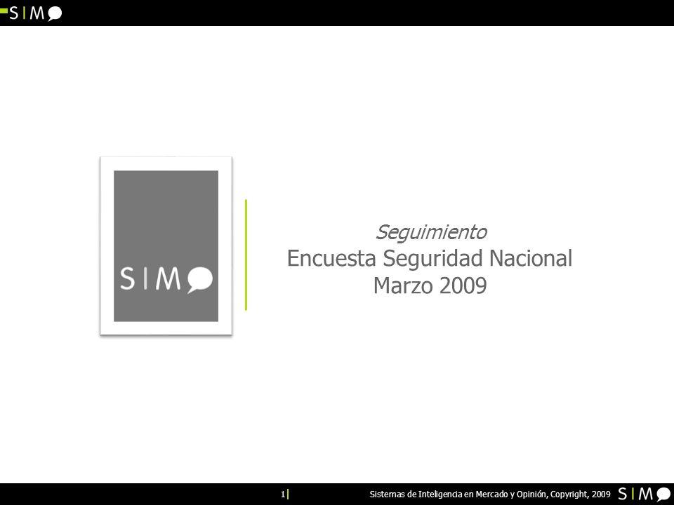 1 Sistemas de Inteligencia en Mercado y Opinión, Copyright, 2009 Seguimiento Encuesta Seguridad Nacional Marzo 2009