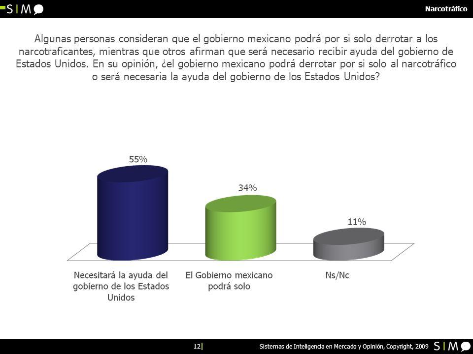 12 Sistemas de Inteligencia en Mercado y Opinión, Copyright, 2009 Narcotráfico Algunas personas consideran que el gobierno mexicano podrá por si solo