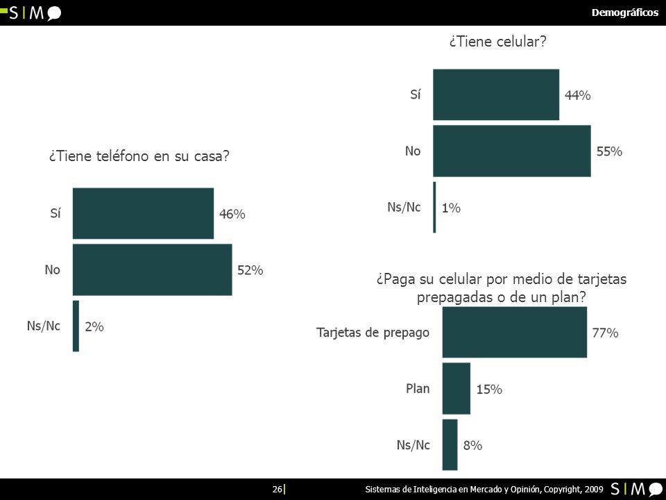 26 Sistemas de Inteligencia en Mercado y Opinión, Copyright, 2009 Demográficos ¿Tiene teléfono en su casa.