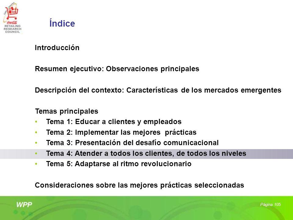 Página 105 Índice Introducción Resumen ejecutivo: Observaciones principales Descripción del contexto: Características de los mercados emergentes Temas