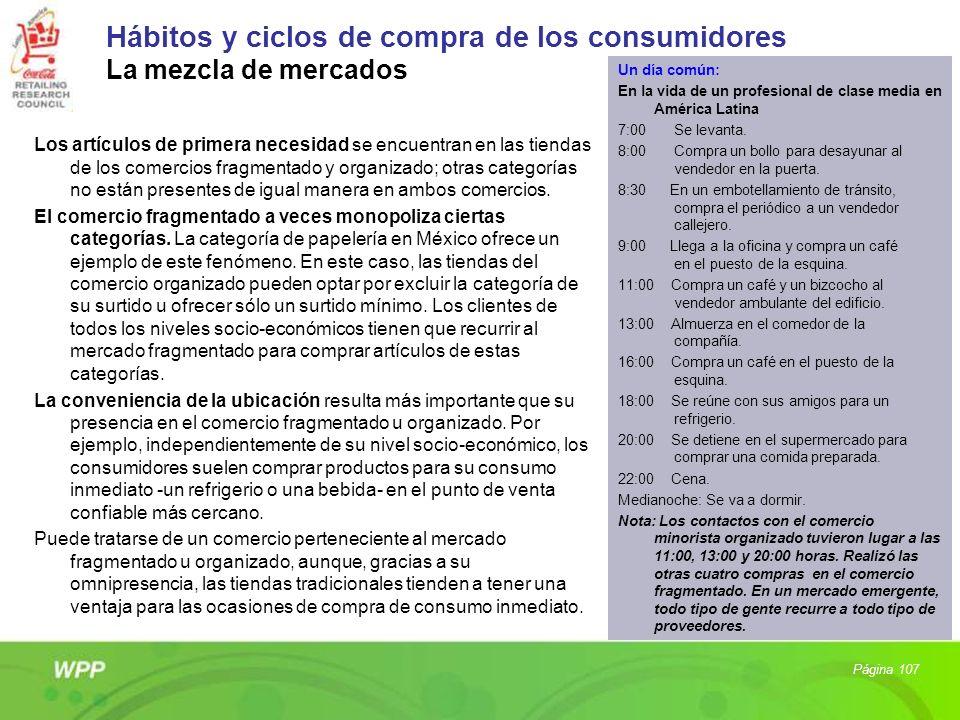 Hábitos y ciclos de compra de los consumidores La mezcla de mercados Los artículos de primera necesidad se encuentran en las tiendas de los comercios