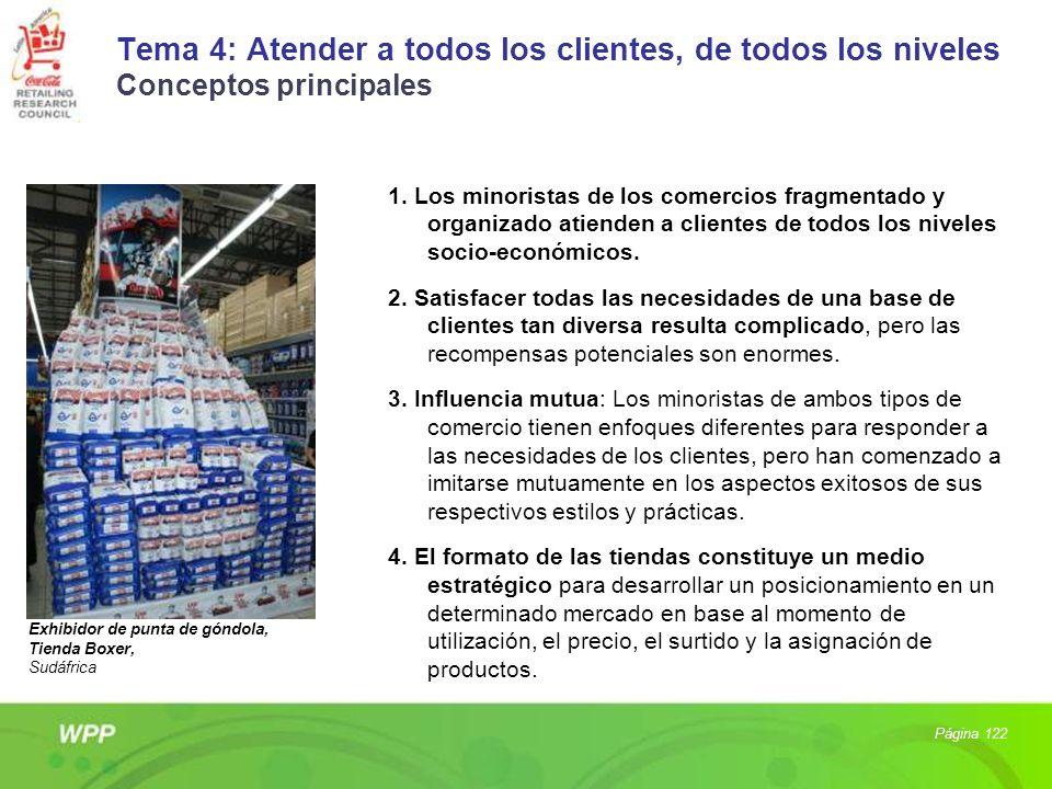 Tema 4: Atender a todos los clientes, de todos los niveles Conceptos principales 1. Los minoristas de los comercios fragmentado y organizado atienden