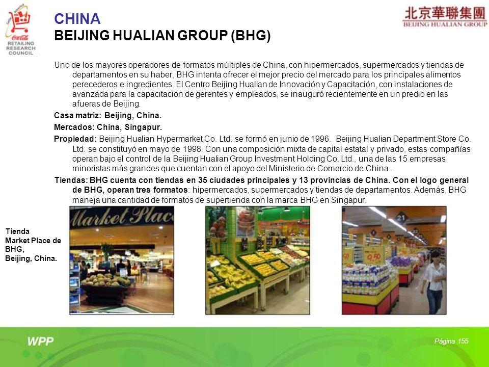 CHINA BEIJING HUALIAN GROUP (BHG) Uno de los mayores operadores de formatos múltiples de China, con hipermercados, supermercados y tiendas de departam
