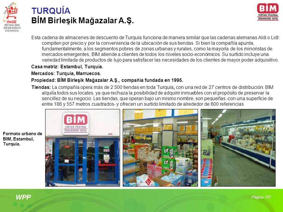 TURQUÍA BİM Birleşik Mağazalar A.Ş. Esta cadena de almacenes de descuento de Turquía funciona de manera similar que las cadenas alemanas Aldi o Lidl: