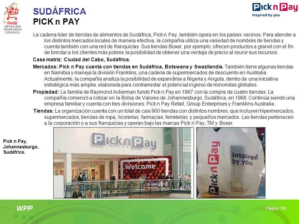 SUDÁFRICA PICK n PAY La cadena líder de tiendas de alimentos de Sudáfrica, Pick n Pay, también opera en los países vecinos. Para atender a los distint