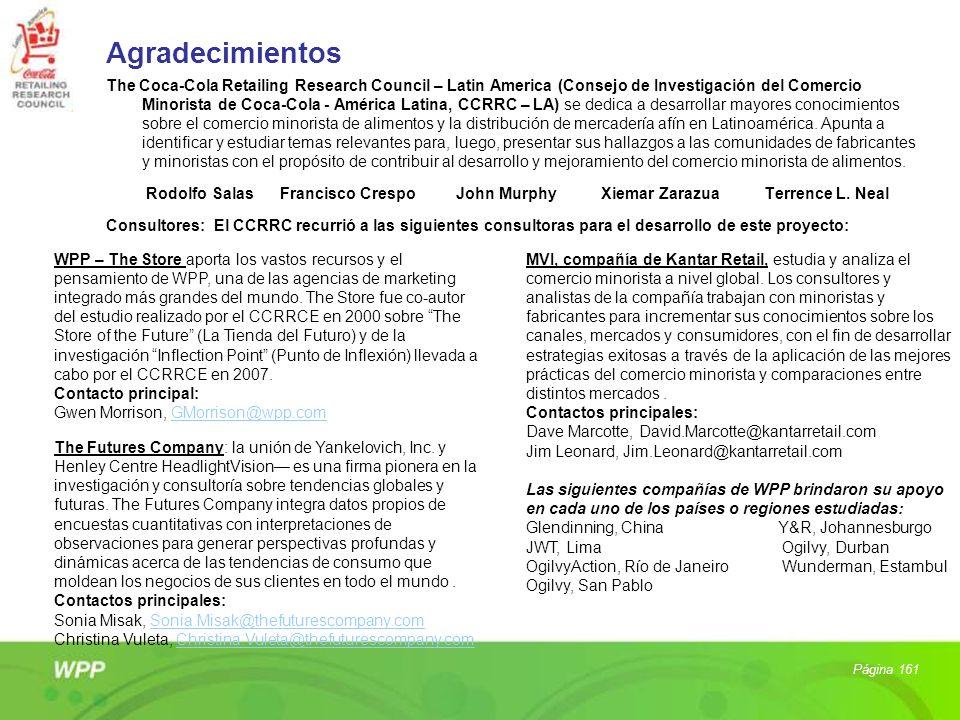 Agradecimientos The Coca-Cola Retailing Research Council – Latin America (Consejo de Investigación del Comercio Minorista de Coca-Cola - América Latin