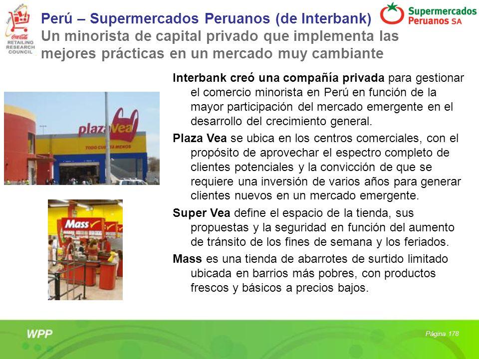 Perú – Supermercados Peruanos (de Interbank) Un minorista de capital privado que implementa las mejores prácticas en un mercado muy cambiante Interban