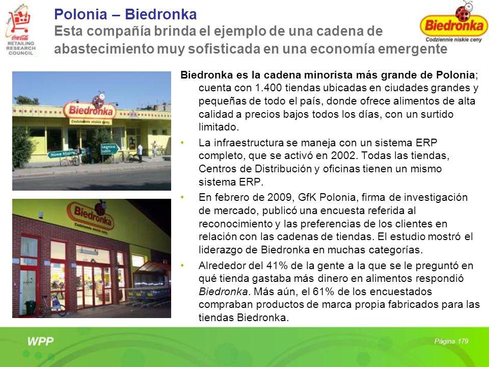 Polonia – Biedronka Esta compañía brinda el ejemplo de una cadena de abastecimiento muy sofisticada en una economía emergente Biedronka es la cadena m