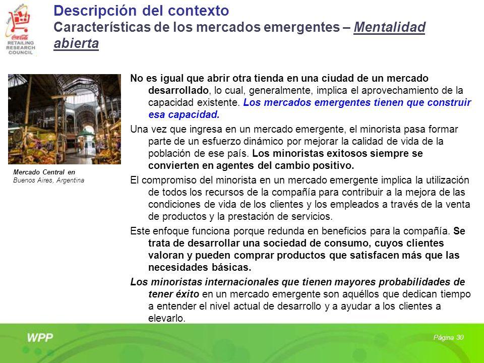 Descripción del contexto Características de los mercados emergentes – Mentalidad abierta No es igual que abrir otra tienda en una ciudad de un mercado