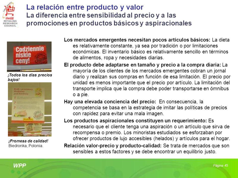 La relación entre producto y valor La diferencia entre sensibilidad al precio y a las promociones en productos básicos y aspiracionales Los mercados e