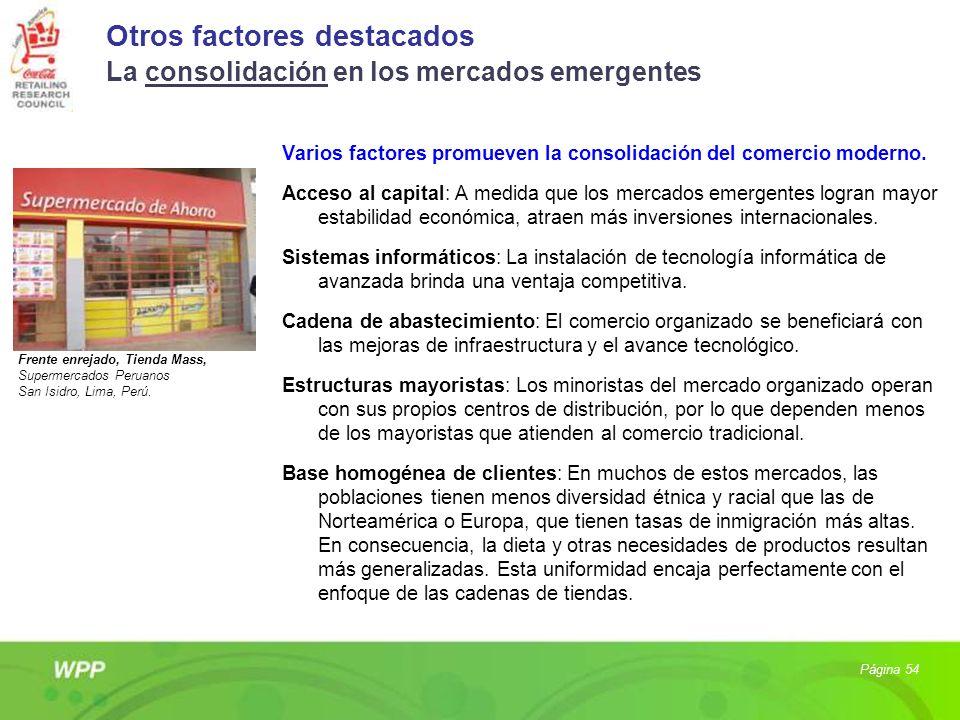 Otros factores destacados La consolidación en los mercados emergentes Varios factores promueven la consolidación del comercio moderno. Acceso al capit