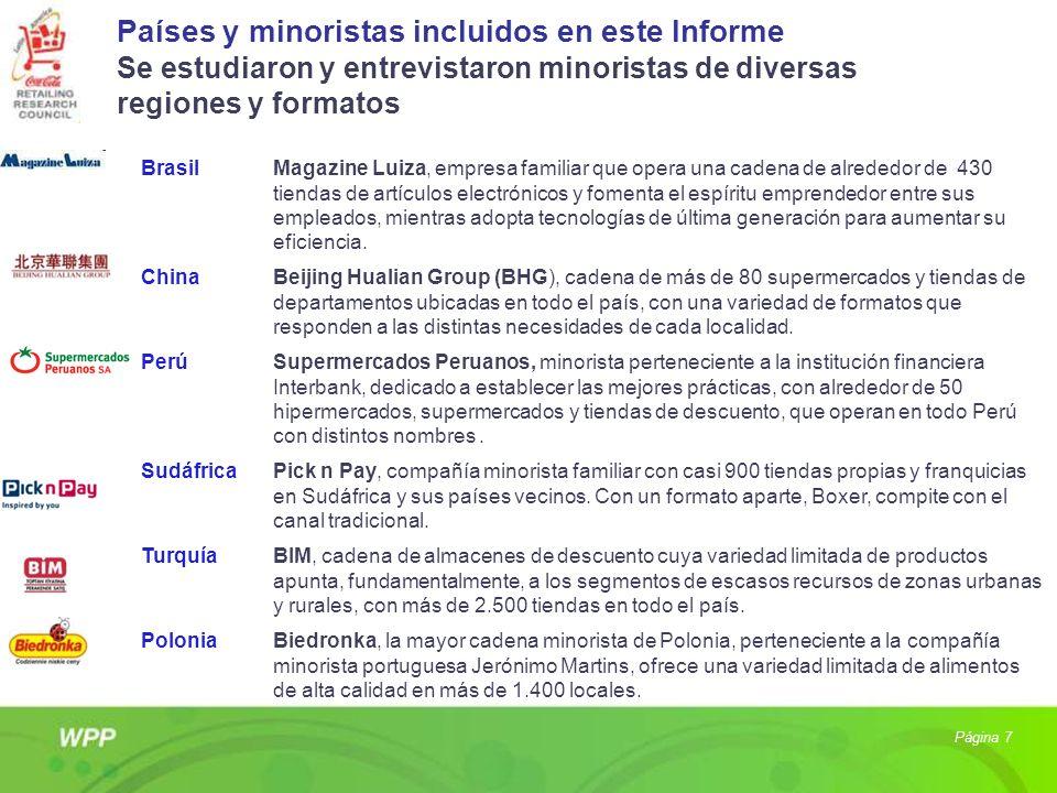 Países y minoristas incluidos en este Informe Se estudiaron y entrevistaron minoristas de diversas regiones y formatos Página 7 BrasilMagazine Luiza,
