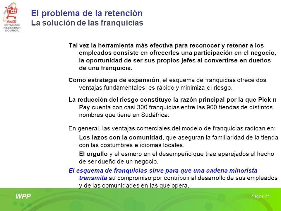 El problema de la retención La solución de las franquicias Tal vez la herramienta más efectiva para reconocer y retener a los empleados consiste en of