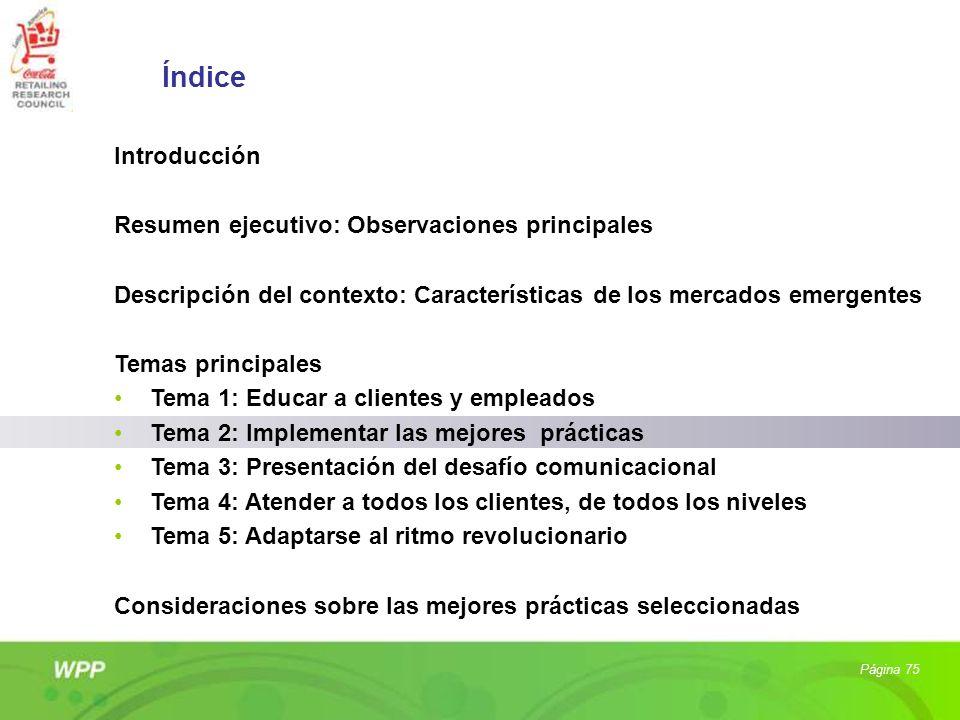 Página 75 Índice Introducción Resumen ejecutivo: Observaciones principales Descripción del contexto: Características de los mercados emergentes Temas