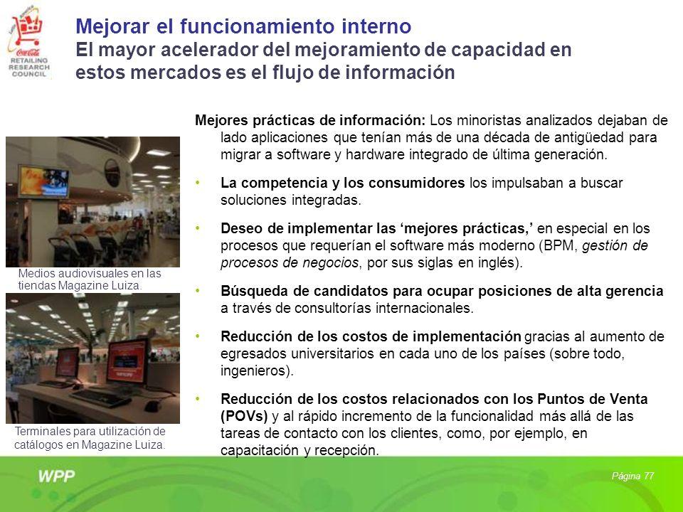 Mejorar el funcionamiento interno El mayor acelerador del mejoramiento de capacidad en estos mercados es el flujo de información Mejores prácticas de