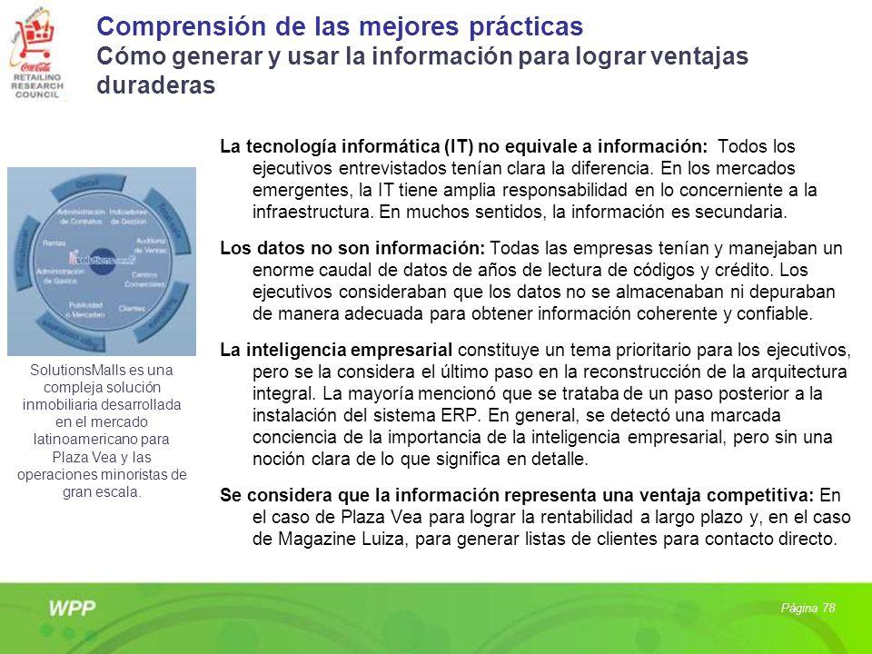 Comprensión de las mejores prácticas Cómo generar y usar la información para lograr ventajas duraderas La tecnología informática (IT) no equivale a in