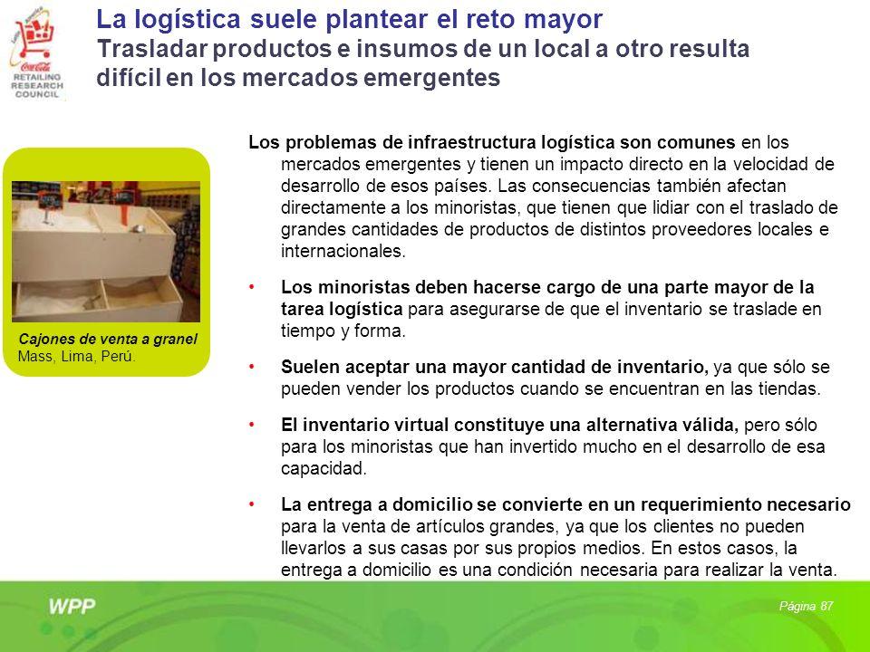 La logística suele plantear el reto mayor Trasladar productos e insumos de un local a otro resulta difícil en los mercados emergentes Los problemas de
