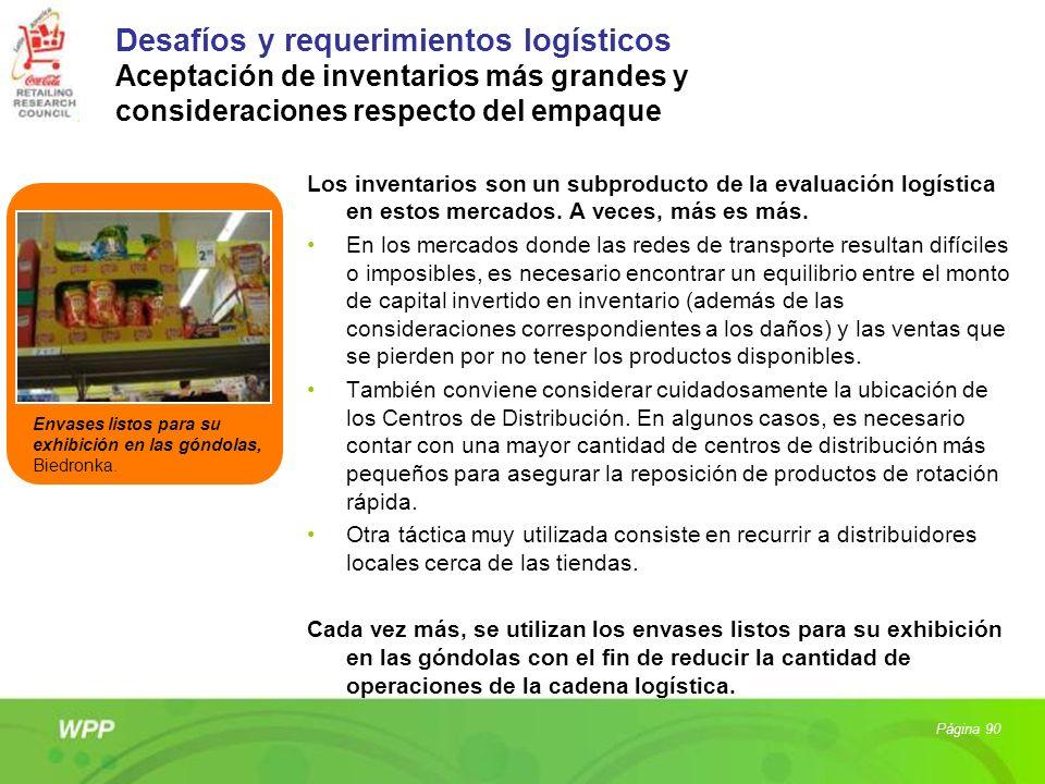 Desafíos y requerimientos logísticos Aceptación de inventarios más grandes y consideraciones respecto del empaque Los inventarios son un subproducto d