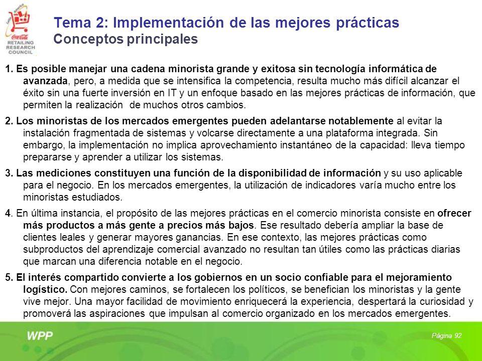 Tema 2: Implementación de las mejores prácticas Conceptos principales 1. Es posible manejar una cadena minorista grande y exitosa sin tecnología infor