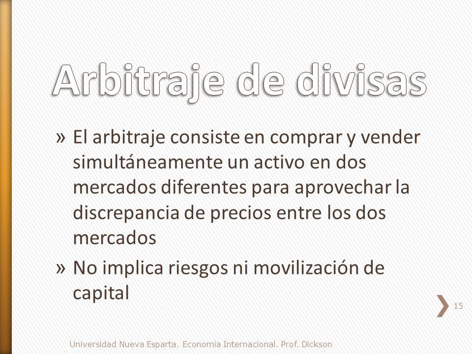 » El arbitraje consiste en comprar y vender simultáneamente un activo en dos mercados diferentes para aprovechar la discrepancia de precios entre los dos mercados » No implica riesgos ni movilización de capital 15 Universidad Nueva Esparta.