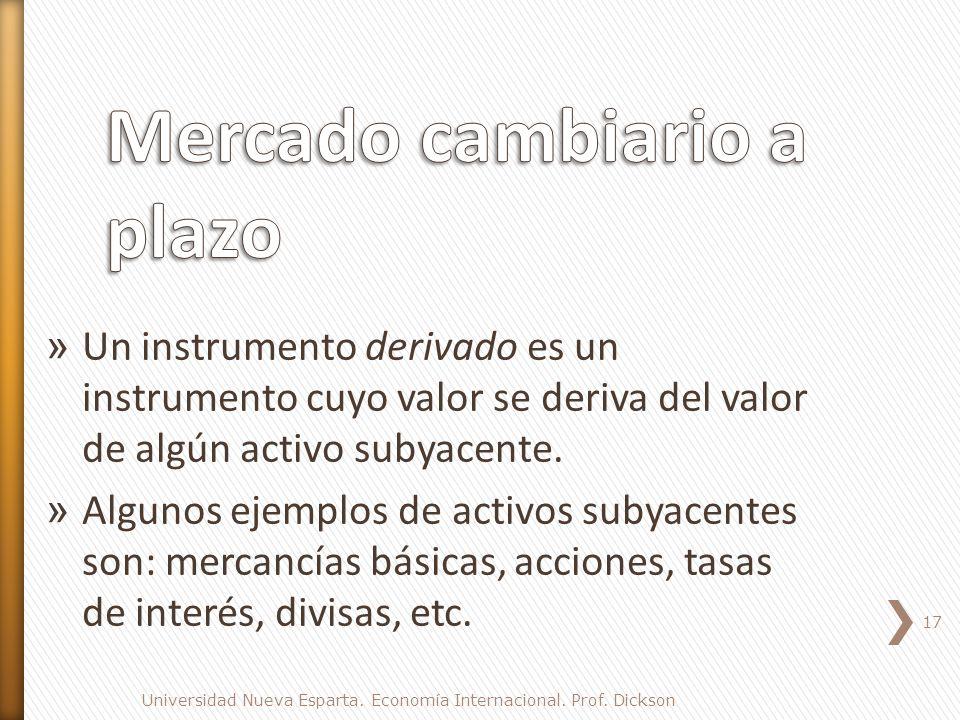 » Un instrumento derivado es un instrumento cuyo valor se deriva del valor de algún activo subyacente.