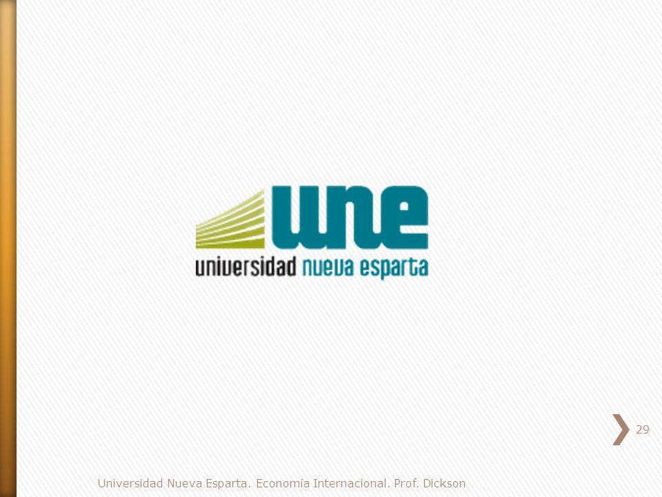 29 Universidad Nueva Esparta. Economía Internacional. Prof. Dickson
