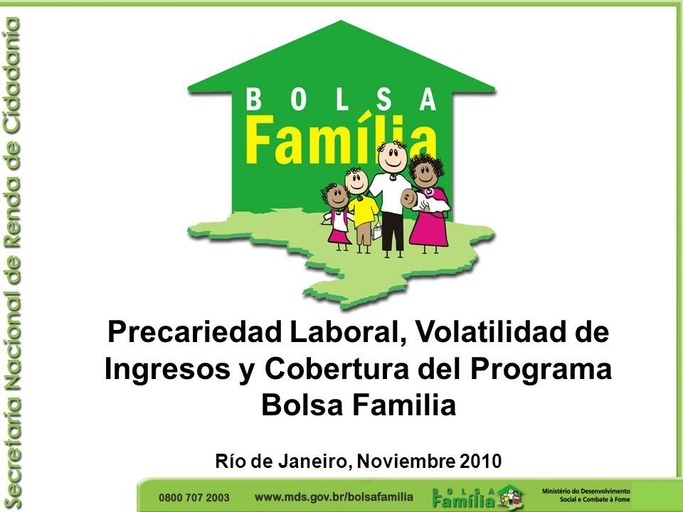 La precariedad laboral de los beneficiarios Solamente un 10% de los beneficiarios del Programa Bolsa Familia habían participado del mercado de trabajo formal en 2007.