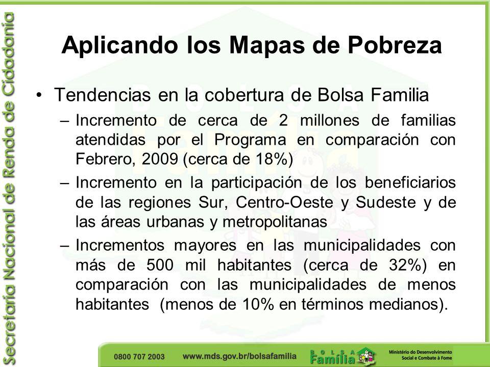 Aplicando los Mapas de Pobreza Tendencias en la cobertura de Bolsa Familia –Incremento de cerca de 2 millones de familias atendidas por el Programa en