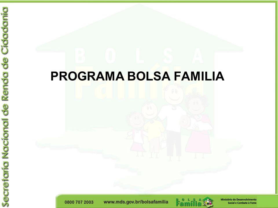 Bolsa Familia en agosto de 2010 5.565 municipalidades 12.740.644 familias beneficiarias R$ 1.212.200.292,00 En beneficios (US$ 708.889.060,00) Valor promedio de los beneficios: R$ 95 (US$ 56) US$ 1 = R$ 1.71
