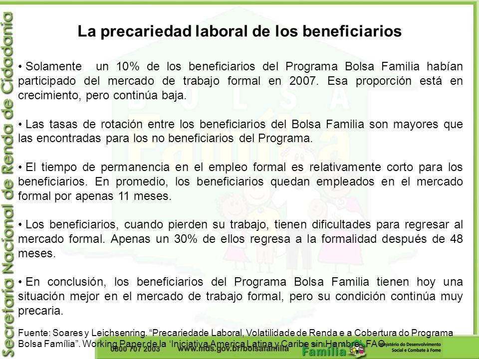 La precariedad laboral de los beneficiarios Solamente un 10% de los beneficiarios del Programa Bolsa Familia habían participado del mercado de trabajo