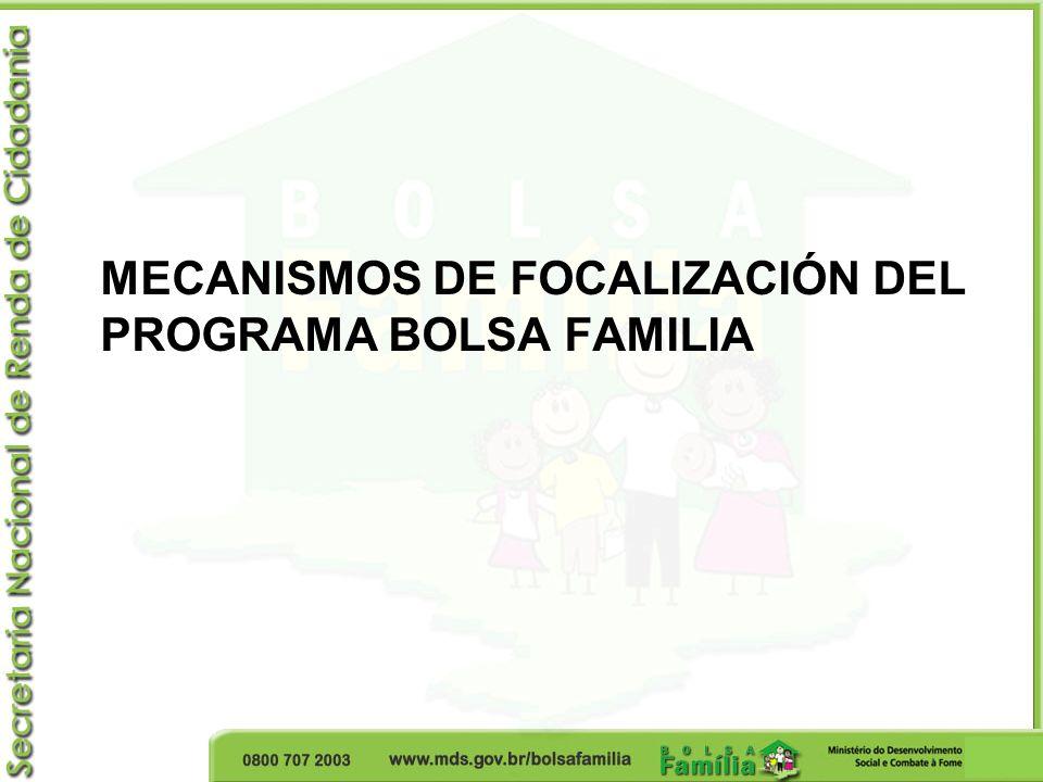 Público Objetivo: Programa Bolsa Familia y Registro Único Registro Único Público objetivo: familias con ingreso per cápita de 1/2 salario mínimo (R$ 255,00 - U$ 149) o con ingreso familiar total de hasta 3 salarios mínimos (R$ 1.530,00 - U$ 895).
