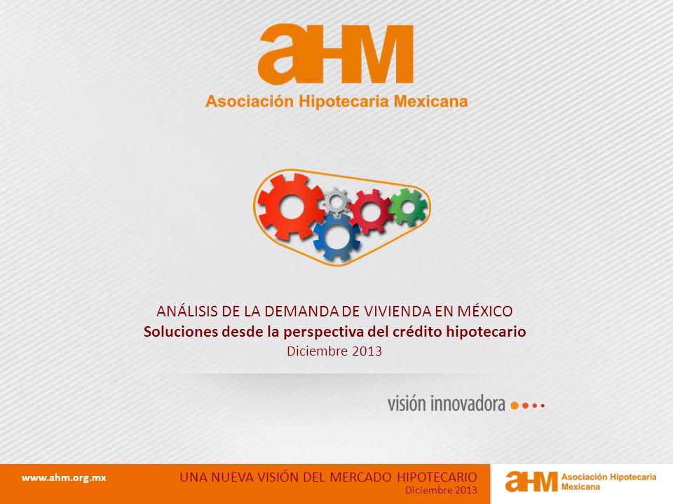 ANÁLISIS DE LA DEMANDA DE VIVIENDA EN MÉXICO Soluciones desde la perspectiva del crédito hipotecario Diciembre 2013 UNA NUEVA VISIÓN DEL MERCADO HIPOTECARIO Diciembre 2013 www.ahm.org.mx