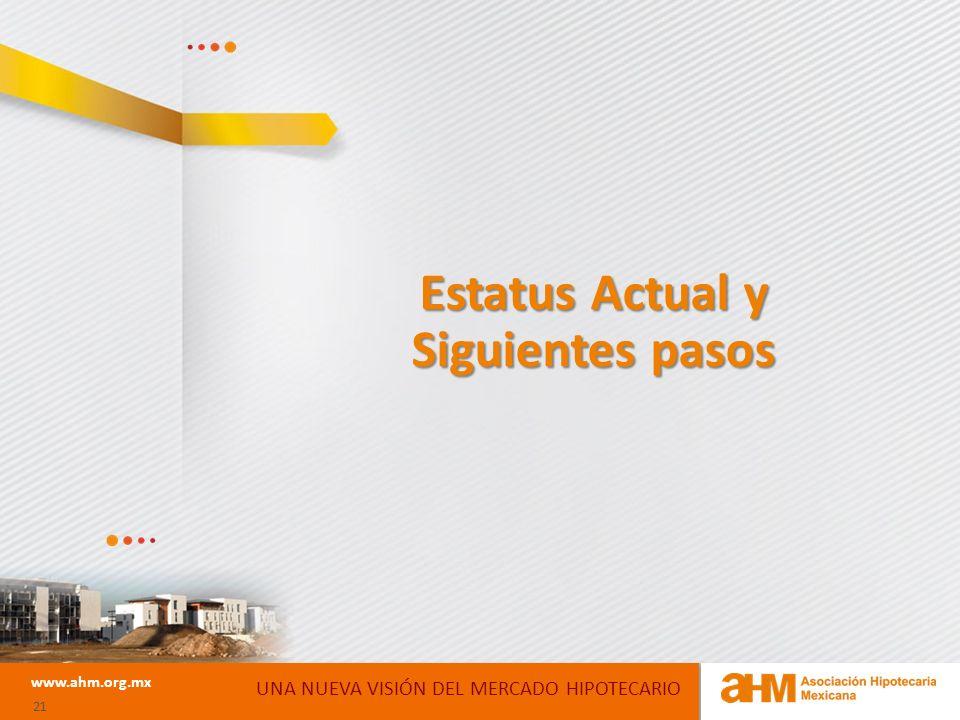 www.ahm.org.mx 21 Estatus Actual y Siguientes pasos UNA NUEVA VISIÓN DEL MERCADO HIPOTECARIO